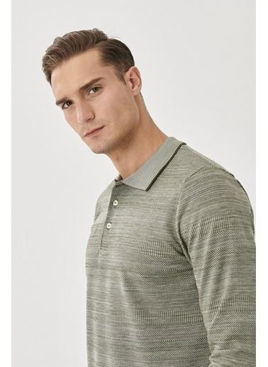 AC&Co / Altınyıldız Classics Slim Fit Dar Kesim Günlük Rahat Spor Polo Yaka Sweatshirt 4A5221200009 Haki
